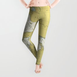 Vintage Map of The Great Lakes (1979) Leggings