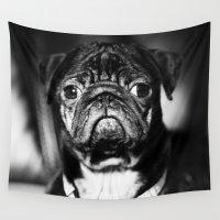 pug Wall Tapestries featuring Pug by Falko Follert Art-FF77