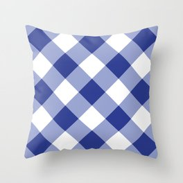 Gingham - Navy Throw Pillow