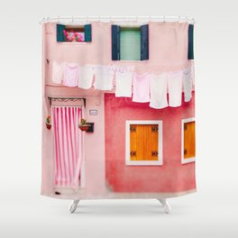 Laundry Day in Burano Italy Shower Curtain