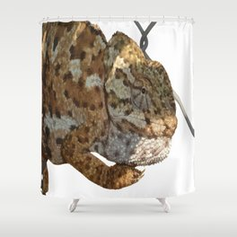 Chameleon Hanging On A Wire Fence Vector Shower Curtain