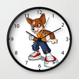Cartoon angry chihuahua. Wall Clock