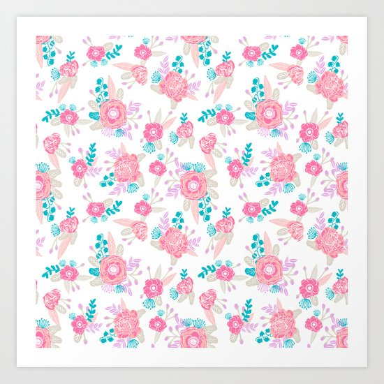 Florals bright modern color palette nursery home decor flower bouquet pattern Art Print