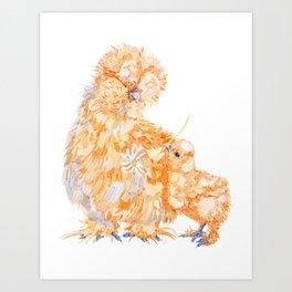 Silkie Chickens - Daisy Art Print