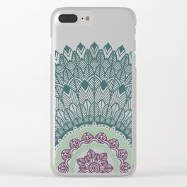Color teal and purple feather mandala hippie boho Clear iPhone Case