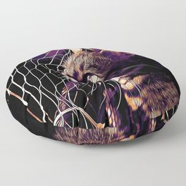 bengal cat yearns for freedom vector art late sunset Floor Pillow