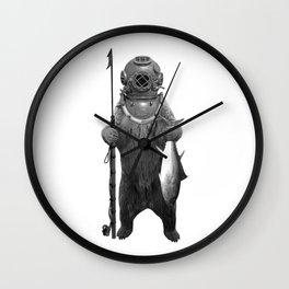 Harpoon Fishing Bear Wall Clock
