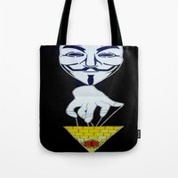 anonymous Tote Bags featuring Anonymous by Edgar Huaracha