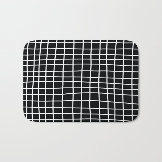 Handdawn Grid Black Bath Mat