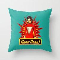 robin williams Throw Pillows featuring Nanu Nanu  |  Mork  |  Robin Williams Tribute by Silvio Ledbetter
