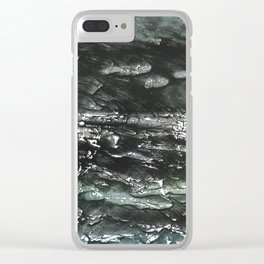 Gray green watercolor Clear iPhone Case