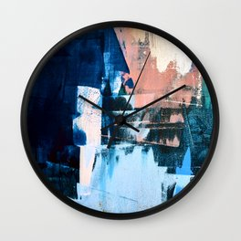 On the Dock: a pretty abstract design in blues and pinks by Alyssa Hamilton Art Wall Clock