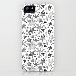 Grey Starfish Pattern - Dark iPhone Case