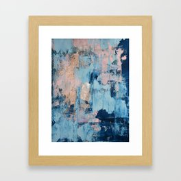 Sunbeam: a pretty abstract painting in pink, blue, and gold by Alyssa Hamilton Art Framed Art Print