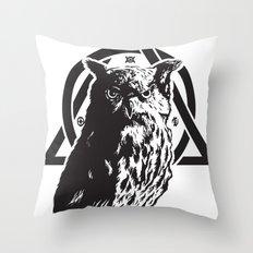 Owl & symbols Throw Pillow