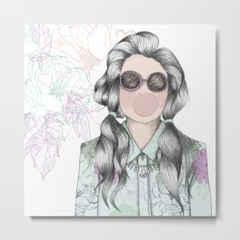 GUM FLOWER GIRL Metal Print