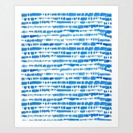 Indigo Shibori Brush Stroke Pattern Art Print