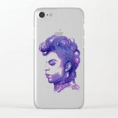 Prince Portrait Purple Watercolor Clear iPhone Case