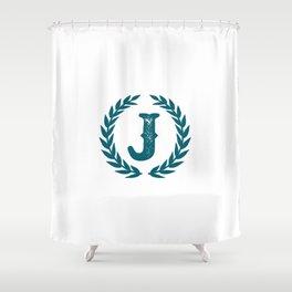 Dark Teal Monogram: Letter J Shower Curtain