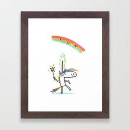 RAINBOW UNICORN MAGIC PARTY Framed Art Print