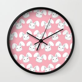 Cute White Bunny on Pink background Wall Clock