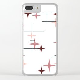 Mid Century Modern Stars (Pink) Clear iPhone Case