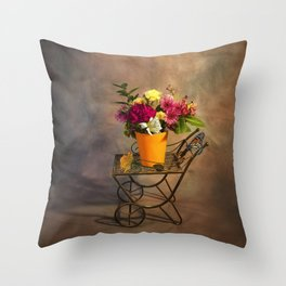 Garden Cart With Flowers Throw Pillow