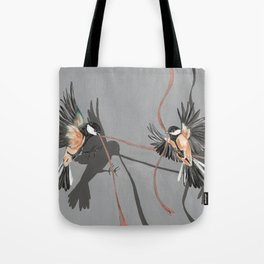 Great Tits Bird Ribbon Grey Tote Bag