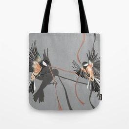 Great Tits Bird Ribbon Grey Tote Bag