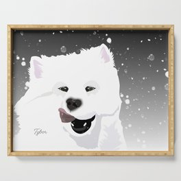 Tybor the Samoyed; an Illustrated Happy Portrait Serving Tray