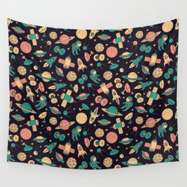 Retro Space Pattern Wall Tapestry