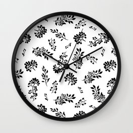 Black white abstract berries floral illustration Wall Clock