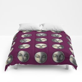 moon phases on dark purple Comforters