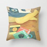 vinyl Throw Pillows featuring Vinyl by Cassia Beck