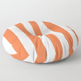 Smashed Pumpkin orange - solid color - white vertical lines pattern Floor Pillow