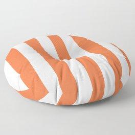 Smashed Pumpkin orange - solid color - white vertical lines pattern Floor Pillow