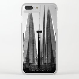 Shards - Black And White London Architecture Print Clear iPhone Case