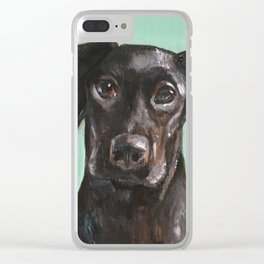 Black Labrador Puppy / Nursery Art and decor Clear iPhone Case