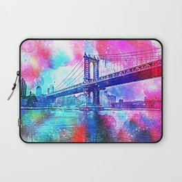 Colorful New York Pink Blue Photograph Laptop Sleeve