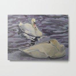 Swans Resting Metal Print