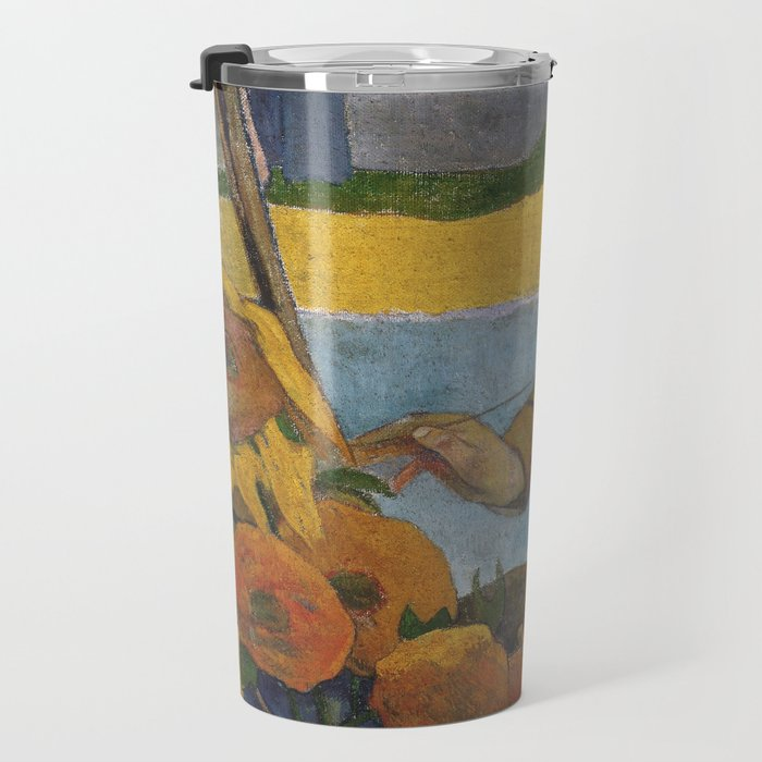 Vincent van Gogh painting sunflowers by Paul Gauguin Travel Mug