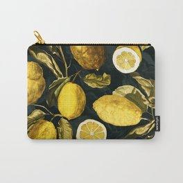 Lemon and Leaf Pattern V Carry-All Pouch
