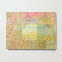 Blossoms Trees Pink Yellow Abstract Metal Print