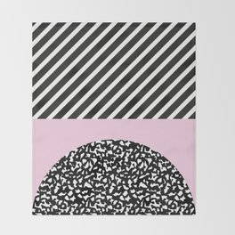 Memphis Pink Stripes 80s Throw Blanket
