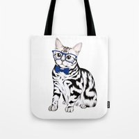 kitty Tote Bags featuring Kitty by 13 Styx