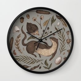 Weasel and Hedgehog Wall Clock