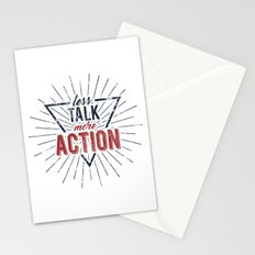 Inspirational typography  - Less Talk More Action Stationery Cards