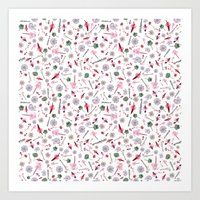 Seamless wildflowers pattern Art Print