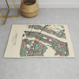 Colorful City Maps: Manhattan, New York Rug