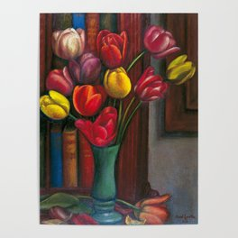 colorful parrot tulips in vase, pink, ameythst, gold yellow, crimson red floral blossoms still life portrait painting by Mark Gertler for home - wall decor Poster